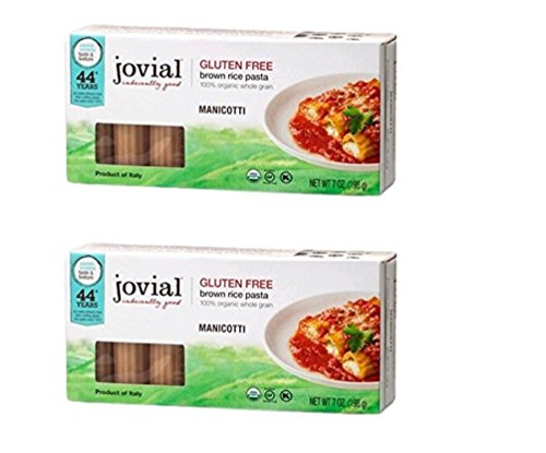 Jovial Organic Gluten-Free Brown Rice Italian Pasta, Manicotti - Pack of 2, 7 Ounces Each