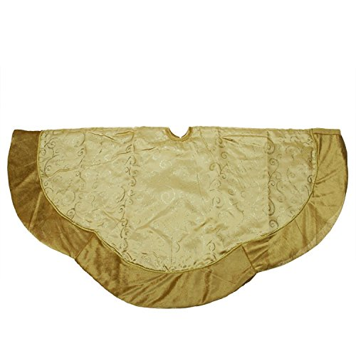 NorthLight 48 in. Gold Satin Glitter Print Scallop Tree Skirt (Silk Skirt Swirl)