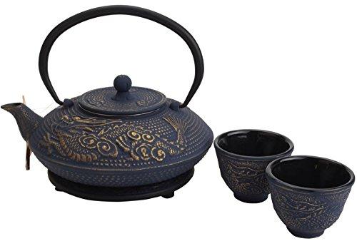 cast iron blue teapot - 7