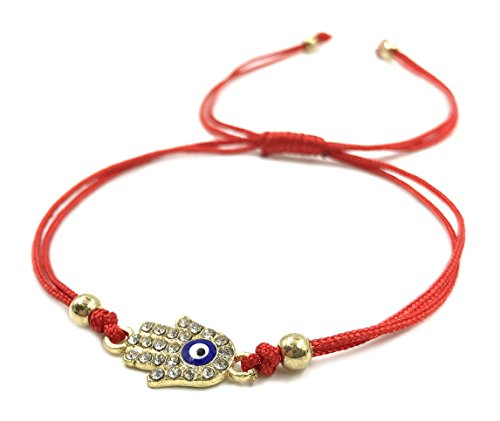 String Red Gold Bracelet Hamsa (LuckyEye 2928 Evil Eye Bracelet Gold Plated Hamsa Red String Kabbalah Jewelry for Protection)