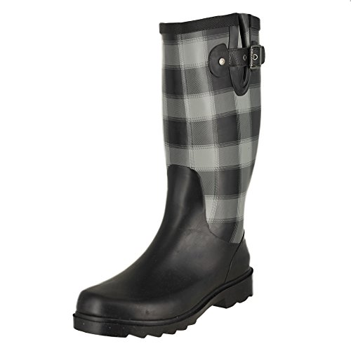 Chooka Women's Tall Rain Boot, Buffalo Plaid Charcoal, 10 M US Buffalo Plaid Boot