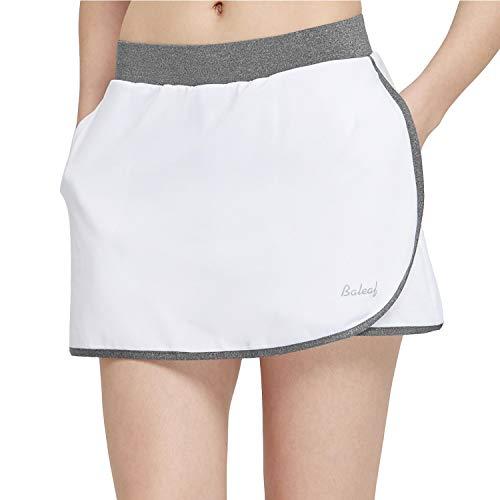 Baleaf Women's Athletic Tennis Skorts Running Golf Gym Skirts Side Pockets White/Gray S ()