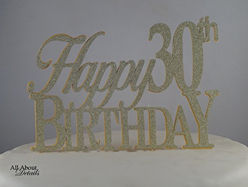 All About Details Gold Happy-30th-birthday Cake Topper