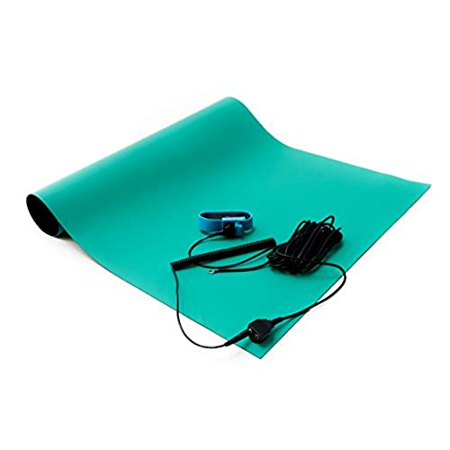 "Top Bertech Rubber ESD Soldering Mat Kit with a Wrist Strap and Grounding Cord, 18"" Wide x 24"" Long, Green free shipping"