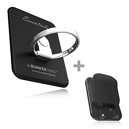 Kickstand - Original, Genuine, Authentic Bunker Ring Cell Phone and Tablets Anti Drop Ring for iPhone iPad iPod Samsung Galaxy Note and Any Universal Mobile Devices (Black+Hook)