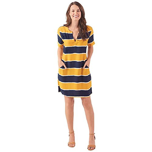 MUd Pie Margot Shift Dress in Rugby Stripe,Size Medium, Navy Blue And Yellow Stripe -
