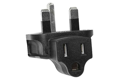 SF Cable, 3 Prong Right-Angle Plug Adapter, USA NEMA 5-15R Receptacle to Fused UK (BS1363)