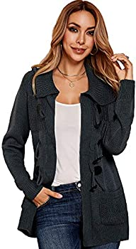 Ybenlow Button Down Cardigan Sweaters Hooded Cable Knit Womens Sweater