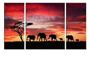 Wieco Art Walking Elephants Canvas Prints Wall Art African Animals Family Pictures Paintings for Bedroom Kitchen Home Decorations Modern 3 Panels Stretched and Framed Giclee Red Landscape Artwork