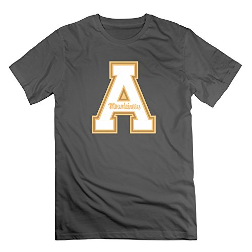 Men's Appalachian State Mountaineers 100% Cotton O Neck T-Shirt DeepHeather US Size XL