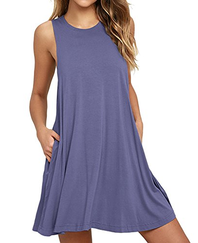 HiMONE Women's Summer Casual Loose Dress Beach Cover Up Tank Dresses with Pocket Purple Gray X-Large