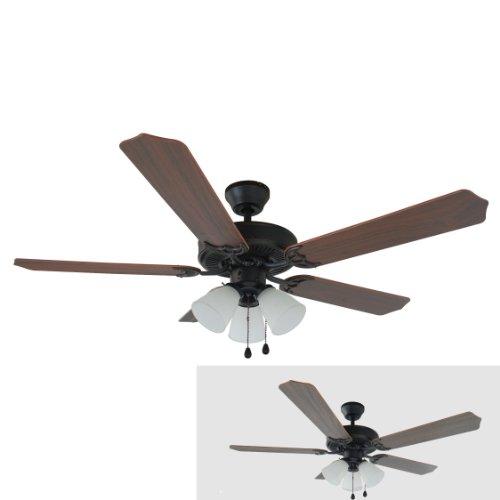 Hardware House 17-5715 Palladium Oil Rubbed Bronze 52-Inch Triple Mount Ceiling Fan Light, Walnut or Cherry Blades