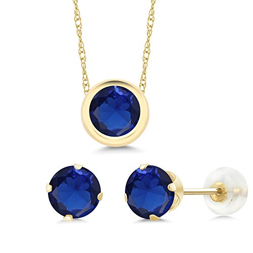 3.00 Ct Round Blue Simulated Sapphire 14K Yellow Gold Pendant Earrings Set by Gem Stone King