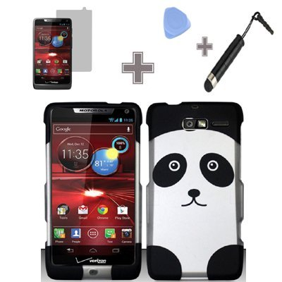 (Rubberized Black Silver Panda Bear Snap on Design Case Hard Case Skin Cover Faceplate with Screen Protector, Case Opener and Stylus Pen for Motorola Droid RAZR M 4G LTE / XT907 - Verizon)
