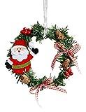 Baixnsj PVC Wall Décor Garland Decoration Christmas Wreath Santa Claus Inner Diameter(4.3Inch)