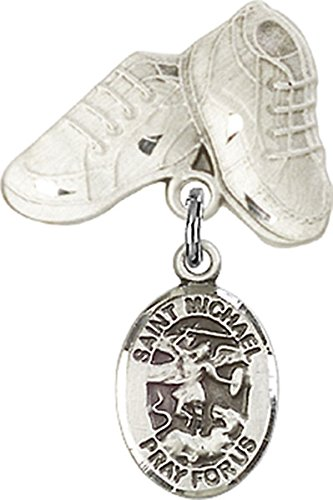 Sterling Silver Baby Badge Baby Boots Pin with Saint Michael the Archangel Charm, 3/4 Inch