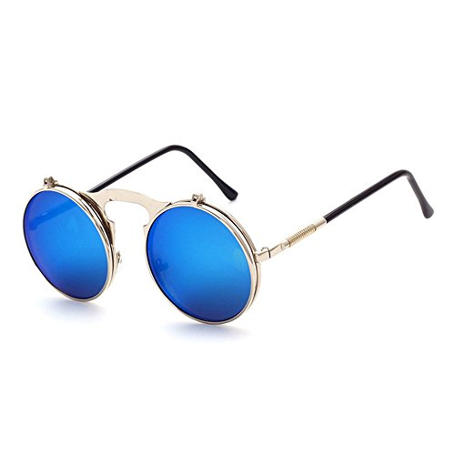 marco Metal Plata sol redondo Retro Frame Classic protección Flip UV400 Azul gafas de lente Steampunk de de IZ0zqYZ
