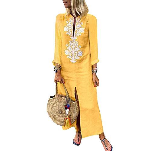 Women's Bohemian Floral Print Split Cotton Linen Maxi Dress Deep V Neck Long Sleeve Casual Party Dresses (Yellow 2, M)
