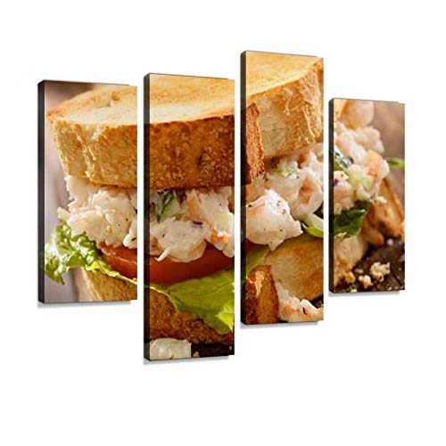 (Toasted Seafood Salad Sandwich Canvas Wall Art Hanging Paintings Modern Artwork Abstract Picture Prints Home Decoration Gift Unique Designed Framed 4 Panel)