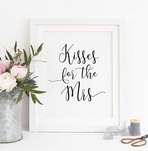 Arvier Printable Kisses for The Mrs Kisses Sign