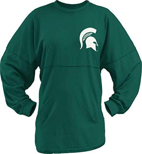 Three Square by Royce Apparel NCAA Michigan State Spartans Junior's Big Time Outline Sweeper, Large, Dk. (Large Dk Green)
