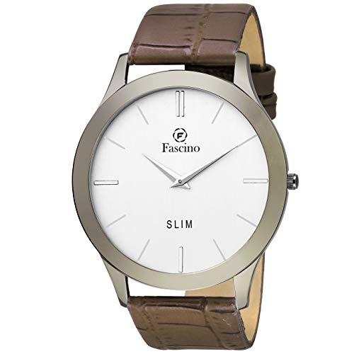 Fascino Analogue Men's Watch ( Silver Dial Brown Strap )