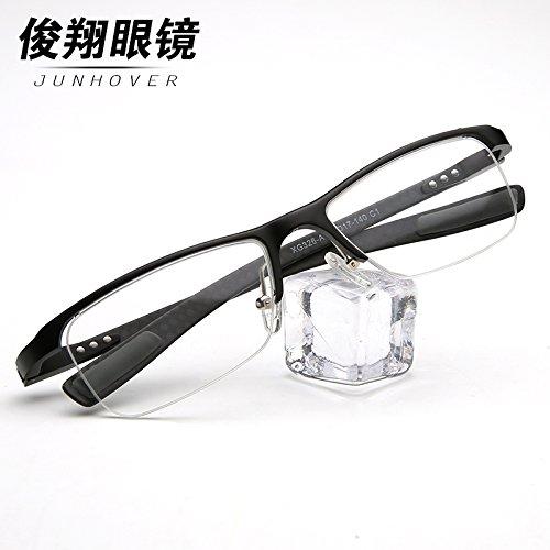 les hommes et les femmes fashion lunettes demi - ultra - légers en acier au carbone verres optiques myopie lunettes rétro. a02 frosted noir