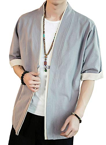 Hisitosa 일본식 파커 맨즈 5부 5부소매 여름 가디건 코트 무지 일본풍 하오리 하나 버튼 심플 톱스 넉넉하게 캐주얼 멋쟁이 큰 사이즈 개성 T셔츠 M-5XL