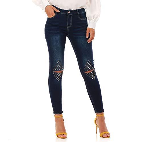 dchirures Modeuse Bleu Genoux Jeans Slim avec La aux IOdqTxzTw