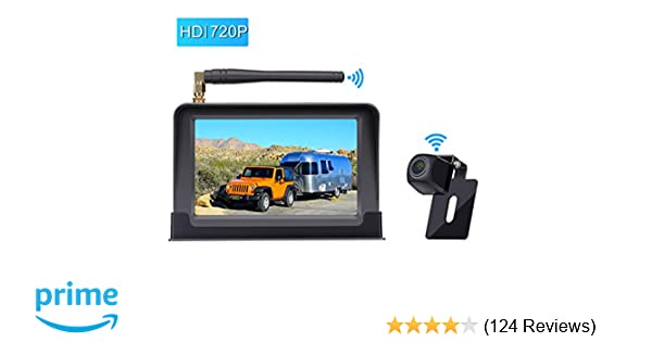 Amtifo Hd Digital Wireless Backup Camera System With 5 Monitor For Cars Pickups Trucks Small Rvs Campers Rear Front View Camera Guide Lines