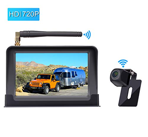 Amtifo HD Digital Wireless Backup Camera System with 5 Monitor for Cars,Pickups,Trucks,Small RVs,Campers,Rear Front View Camera,Guide Lines On Off,IP69 Waterproof
