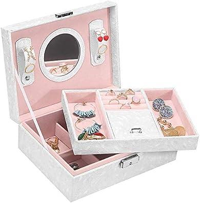 Caja Joyero Caja de Joyas con Espejo y Cerradura,2 Niveles Grande Joyeros Mujer Organizadorpara Guardar Joyas,Pendientes,Anillos y Collares(Blanco): Amazon.es: Joyería