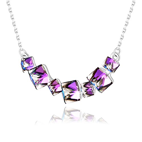 Crystal Necklace PLATO H Smiling Womens Fashion Pendant Necklace Purple Necklace Pendant with Swarovski Cubic Crystal Gradient Purple, 18