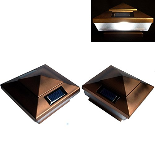 12-pack Garden Solar Copper Post Deck Cap Square Fence Lights 4'' X 4'' by Atlantic SolarsTM (Premium)