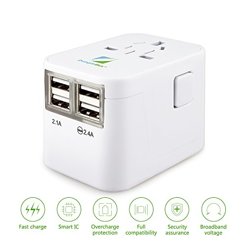 DongleBux Worldwide Travel Power Adapter with Fast Charge 4-USB Ports/ Smart IC Function/ 3500mAh Wall Charger Plug/ Compact & Lightweight/ Compatible with all Electronics using USB - Outlet Galleria The