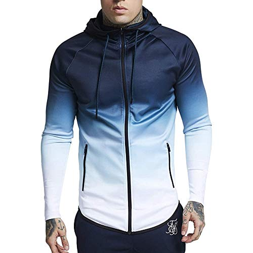 Zip-up Hoodie Jacket Gradient Color Pullover Long Sleeve Hooded Sweatshirt ()