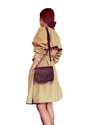 Stile Pulsanti Beige Giacca Giacche Di A Cappotto Donna Lungo Ortografico Tyaw Colore Vento Cotone I 7aO6SwSxq