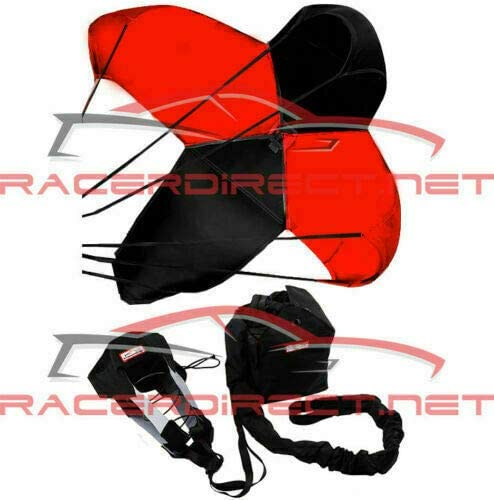 Racerdirect Parachute JR Dragster Spring Loaded Black and RED Panels Drag Safety Chute 790AC