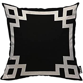 Mugod Greek Key Border Pillow Cases Cute Bold Chic Geometric Stripes Black and White Throw Pillow Cover Cotton Linen Indoor 18x18 Inch Square Cushion Cover for Office Sofa Couch