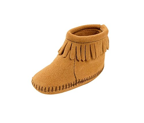 Fringe Flap (Minnetonka Boots Boys Back Flap Fringe Suede 0 Infant Tan 1187)