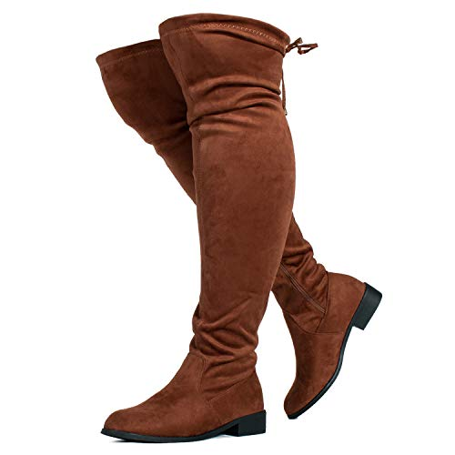 Calf Knee Boots High Wide - RF ROOM OF FASHION Stretchy Over The Knee Riding Boots (Wide Calf) Walnut SU (9)