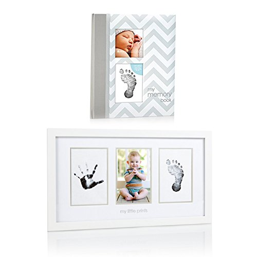 (Maven Gifts: Pearhead Chevron Baby Book with Clean-Touch Ink Pad, Grey with Pearhead Baby Prints Photo Frame with Clean-Touch Ink Pad Included, White)