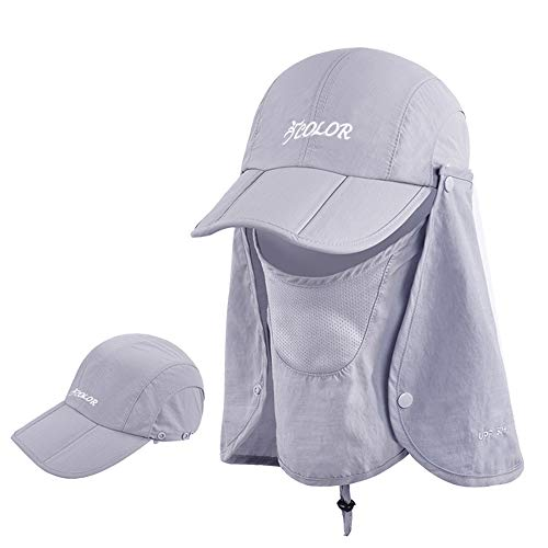 ICOLOR Sun Caps Flap Hats 360°Solar Protection Folding UPF 50+ Sun Cap Removable Neck&Face Flap Cover Caps for Baseball,Backpacking,Cycling,Hiking,Fishing,Garden,Hunting Outdoor Camping-Gray