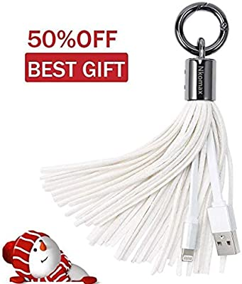 1 one enjoy Lightning to USB Keychain Charger Leather Tassel with 7-Inch 2.4 Amp Lightning Charge Sync Cable for iPhone, iPad (White)