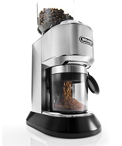 DeLonghi KG 521.M America KG521 Dedica Conical Burr Grinder with Porta Filter Attachment, Silver