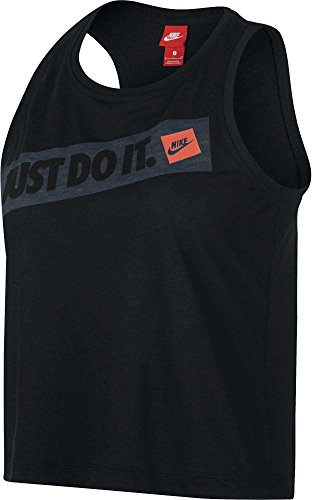 NIKE Women's Sportswear Bumper Sticker Crop Tank Top (Black, X-Large) ()