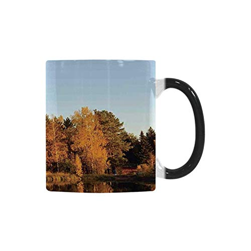 Lake House Decor Utility Morphing Mug,Photo of Autumn Forest and Silhouette of the Trees over the Lake Peace Nature Art for Home,10.3OZ ()