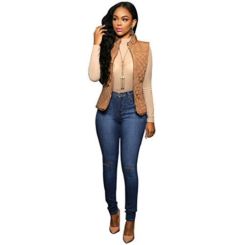 Sexy Women Elastic Butt Lift High waisted Casual Denim Ripped Holes Skinny Jeans (XL, Dark blue+Ripped Hole)