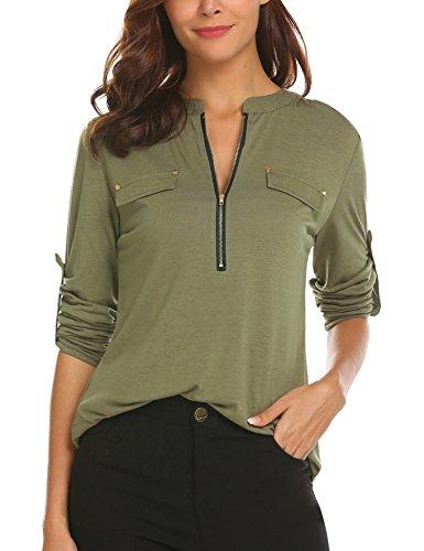SE MIU Women Long Sleeve V Neck Casual Tunic Loose Fit Cotton Blouse Shirt, Army Green, (Miu Miu Green)