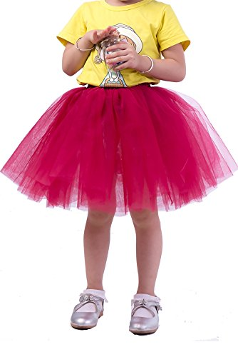 Classic 7 Layers Fluffy Baby Girls Tulle Skirt Princess Ballet Dance Tutu For Christmas Party, 3-10T(Red Wine) (Princess Running Outfits)